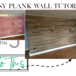 Wallpaper woes? Cover that sheot up with some lovely planks. See the easy tutorial on topshelfdiy.com