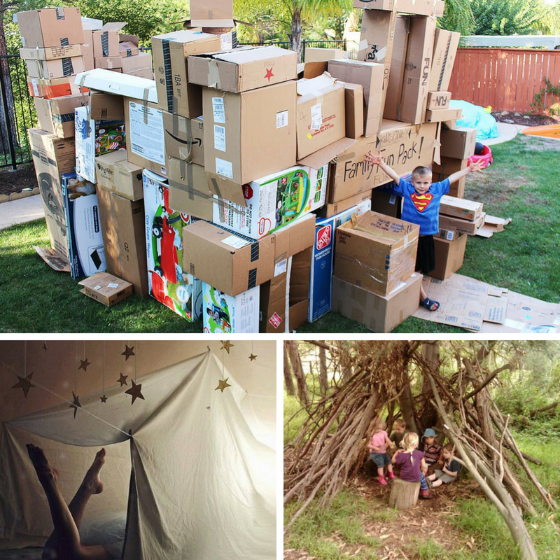 Forts can be made from a wide range of materials: sheets, cardboard boxes, branches, and even pre-fabricated kits