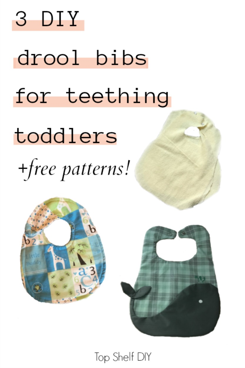 Have a teething toddler and need a drool bib ASAP? Follow this simple tutorial for three different customized, durable options for the beginner sewer. #bibtutorial #bibpattern #easysewing
