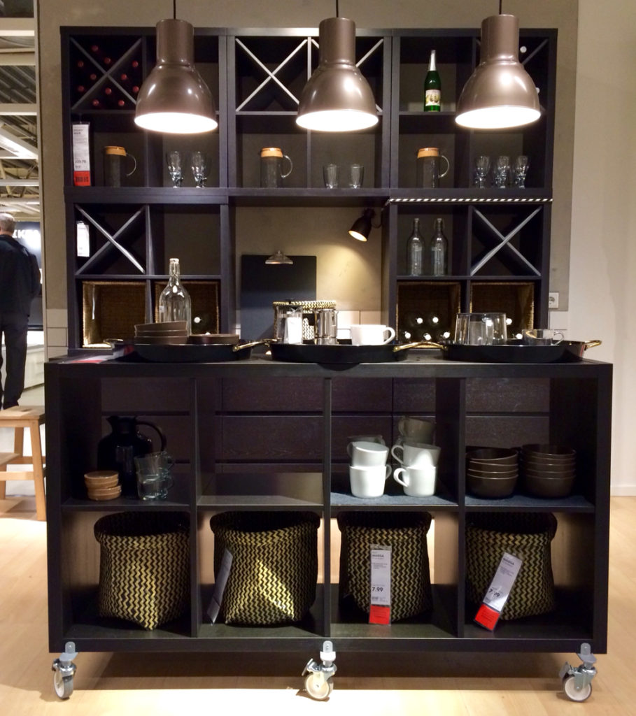 Kallax shelving makes for awesome ikea built in bar options!