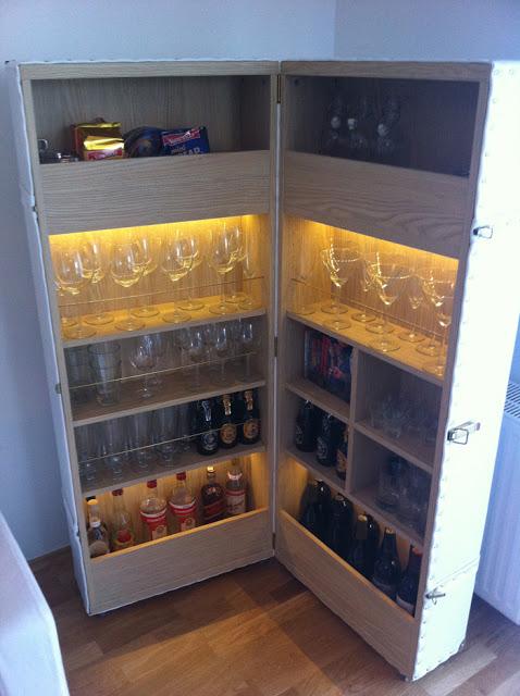Another versatile Ikea Bar Hack; a Suitcase Bar! Talk about portable.