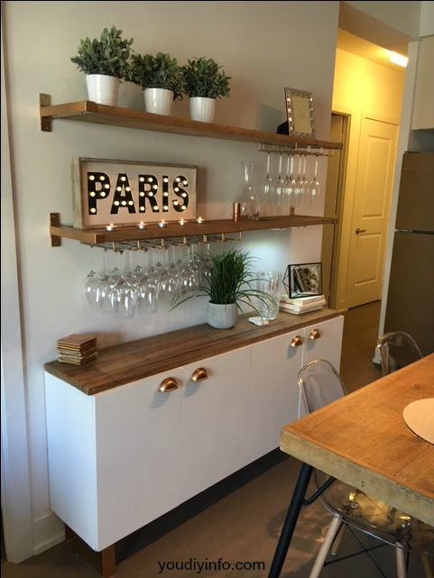 Built in Bar Option with a Besta - all the amazing options you can utilize for your home bar!