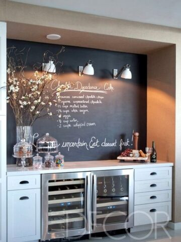 This chalkboard wall serves as the perfect accent to this built-in bar!