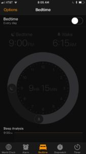 Bedtime function for iPhones; works great for planning your sleep!