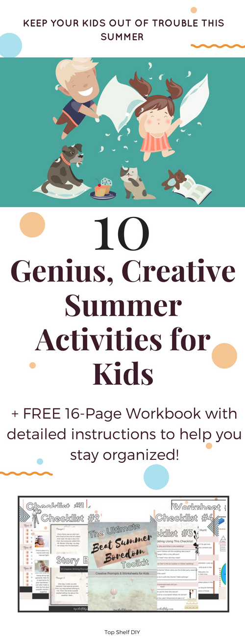 Looking to keep your kids out of trouble this summer? Read into easy ways to keep your kids busy with creative projects and download the 16-page workbook with enough creative prompts to keep them going! #summerboredom #summerkids #summeractivities