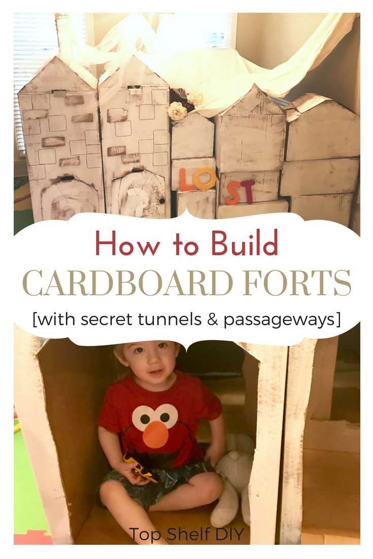 Let's be honest; half the fun of forts is building them with your kids. Here's how to easily make them from smaller boxes and have a blast coming up with activities inside. #forts #cardboardforts