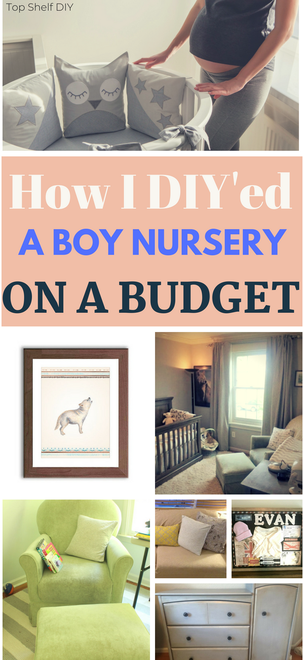 There's a large focus on girl nurseries these days. Here's how I decorated a boy nursery on a tight budget. #boynursery #diynursery #budgetnursery