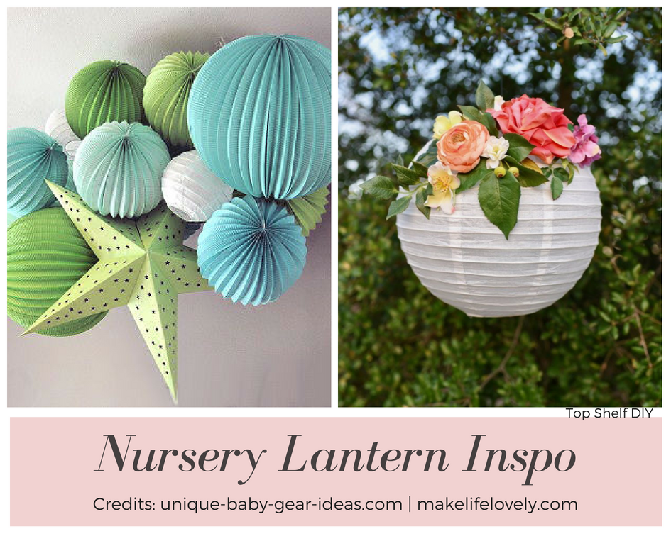 add lanterns for a cheap decor option in your baby's nursery! 50+ Ways to Decorate a Nursery on a Budget. Wall decor, lighting, paper crafts and so much more! Get all the tutorials and inspiration here.