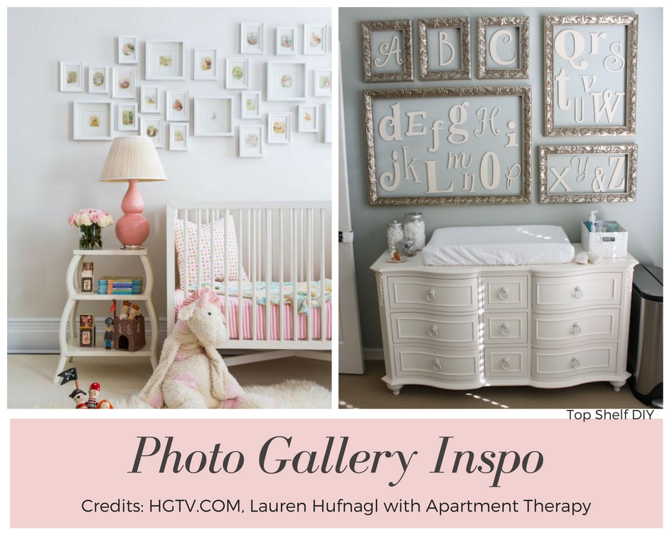 A great way to upgrade your nursery on a budget: add a photo gallery! Idea #4 #cheapnurserydecor. 50+ Ways to Decorate a Nursery on a Budget. Wall decor, lighting, paper crafts and so much more!