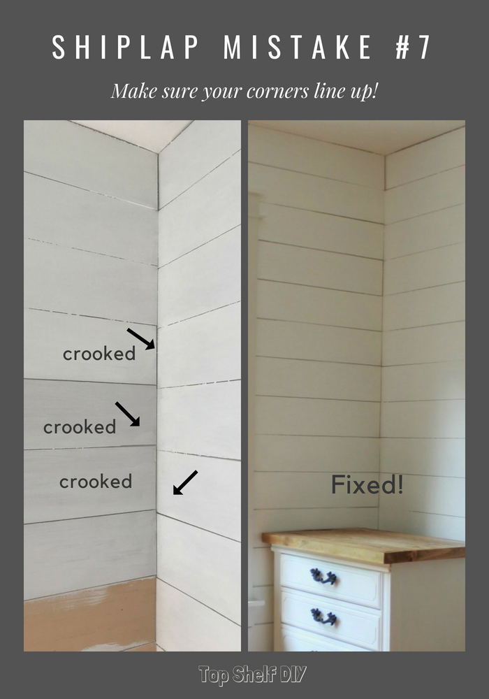 Make sure your corners align and 9 other mistakes to avoid when installing shiplap. #diyhomeimprovement #shiplap