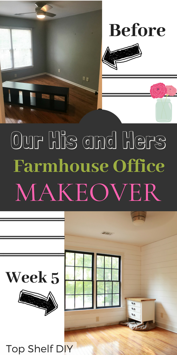 A lot has been happening in our DIY Office Renovation! See how things are looking after week 5, including shiplap walls, craftsman trim, and new baseboards.