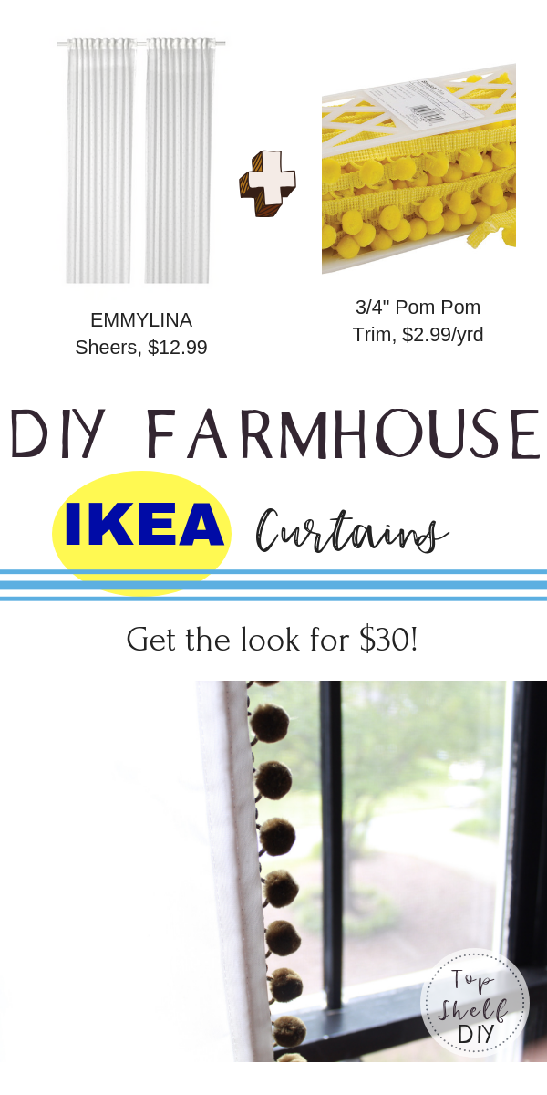Go from shabby to chic with this easy Ikea hack for cheap sheers hemmed to custom length. #ikeacurtains #pompoms