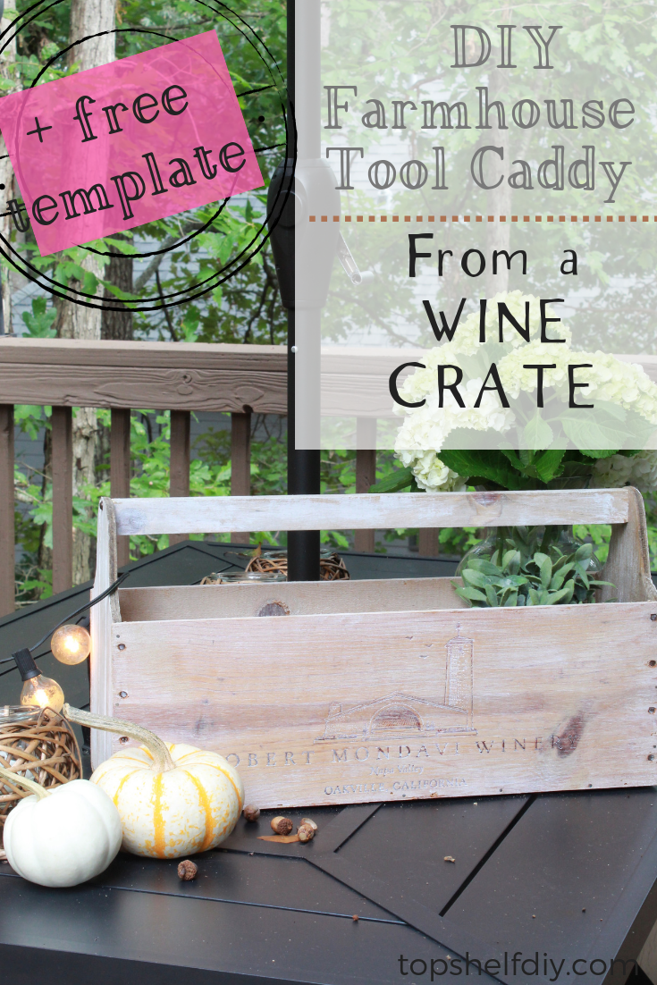 Obsessed with the farmhouse look? Make your own tool caddy with wood scraps and an old wine crate! A $6 project. #farmhouse #toolcaddy #diy