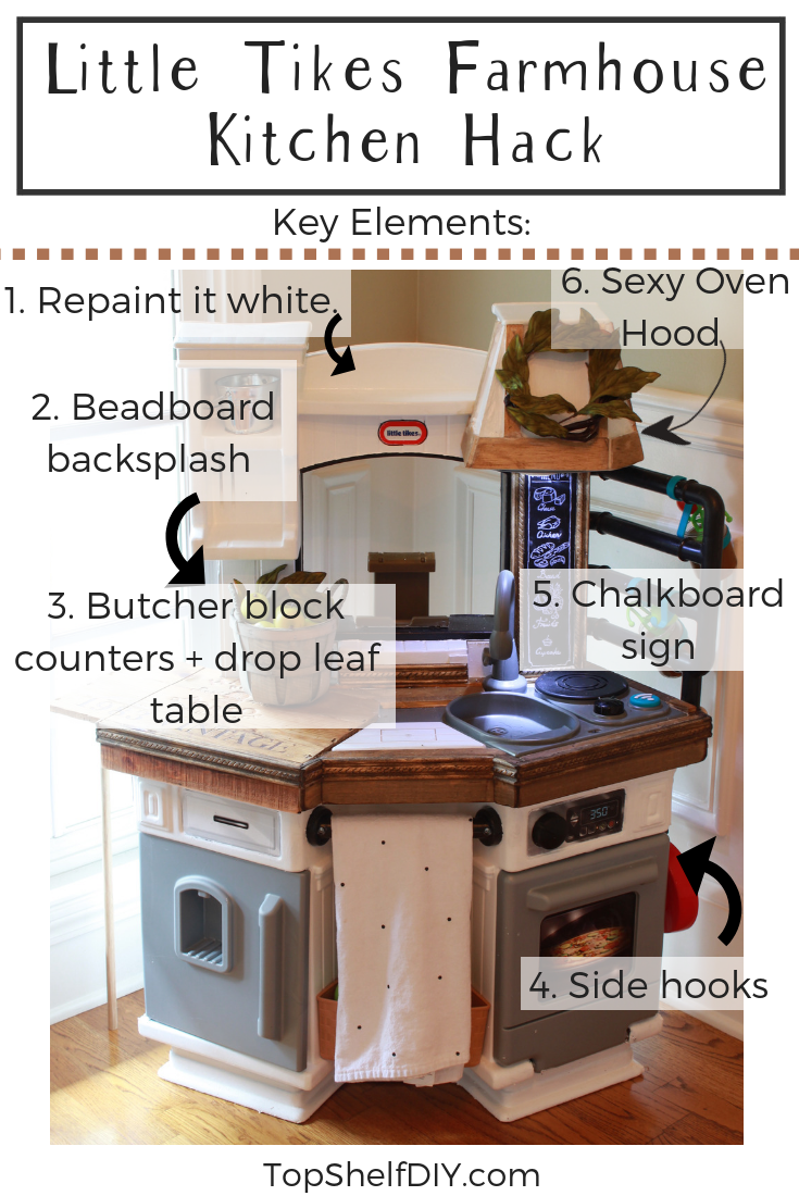 How I added a drop leaf table to this Fisher Price Kitchen, as well as a few other upgrades! #farmhousekitchen