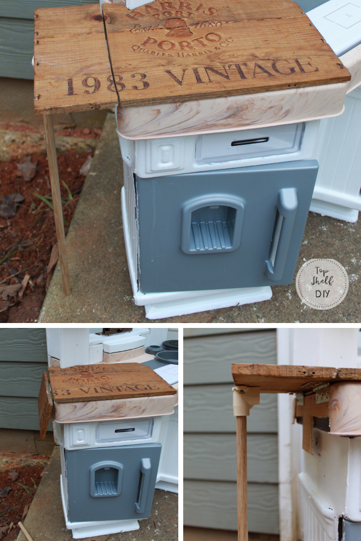 Upgrade your Fisher Price Children's Kitchen with a drop leaf addition! This one is made from an old wine crate.