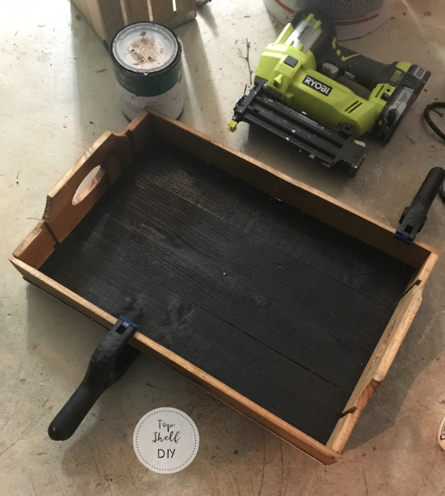 How to make a lovely herringbone tray from an old wine crate