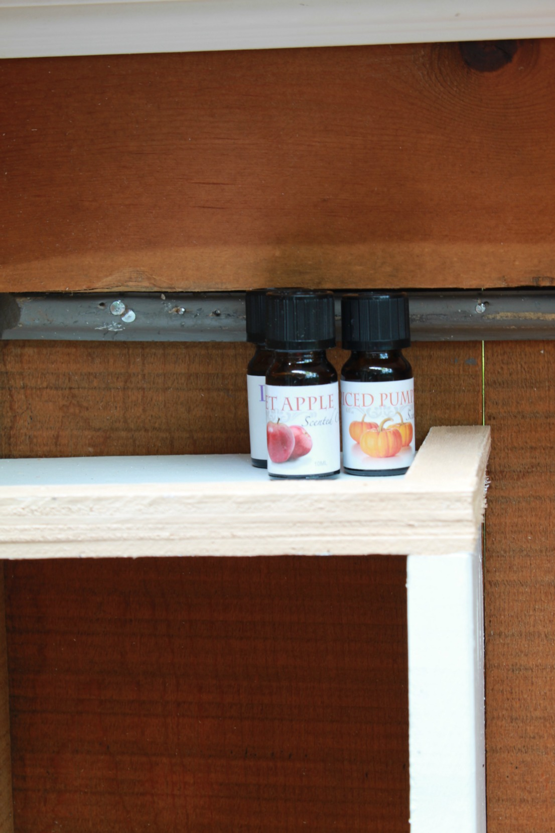 adding a small lip to your shelves keeps your essential oils from sliding off