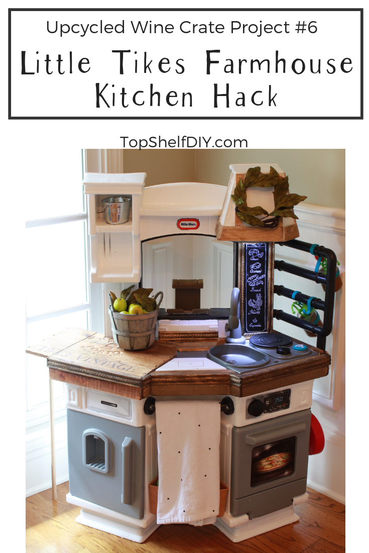 Beadboard? Check. Chalkboard sign? Check. Butcher block countertops? Check! Find out how to hack your kid's kitchen and add a drop leaf table!