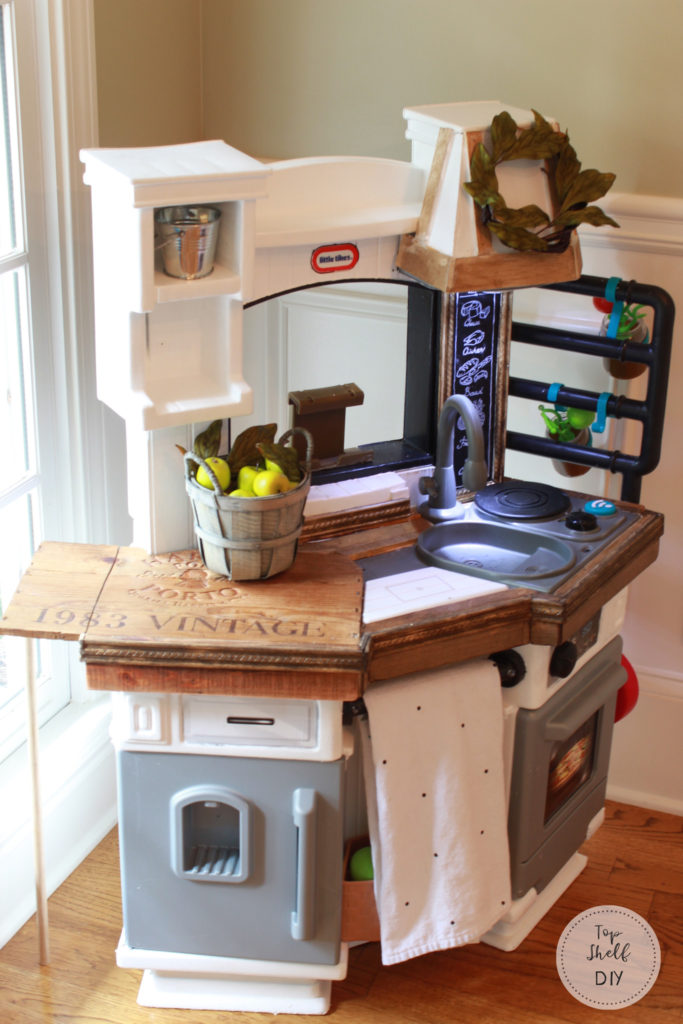 Turn your boring brown kid's kitchen into a fab Farmhouse hack!