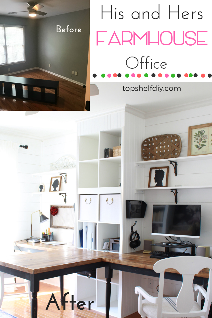 See the full transformation from start to finish in this 3-part post. It got pretty ugly before it got pretty again! #farmhouseoffice #shiplap