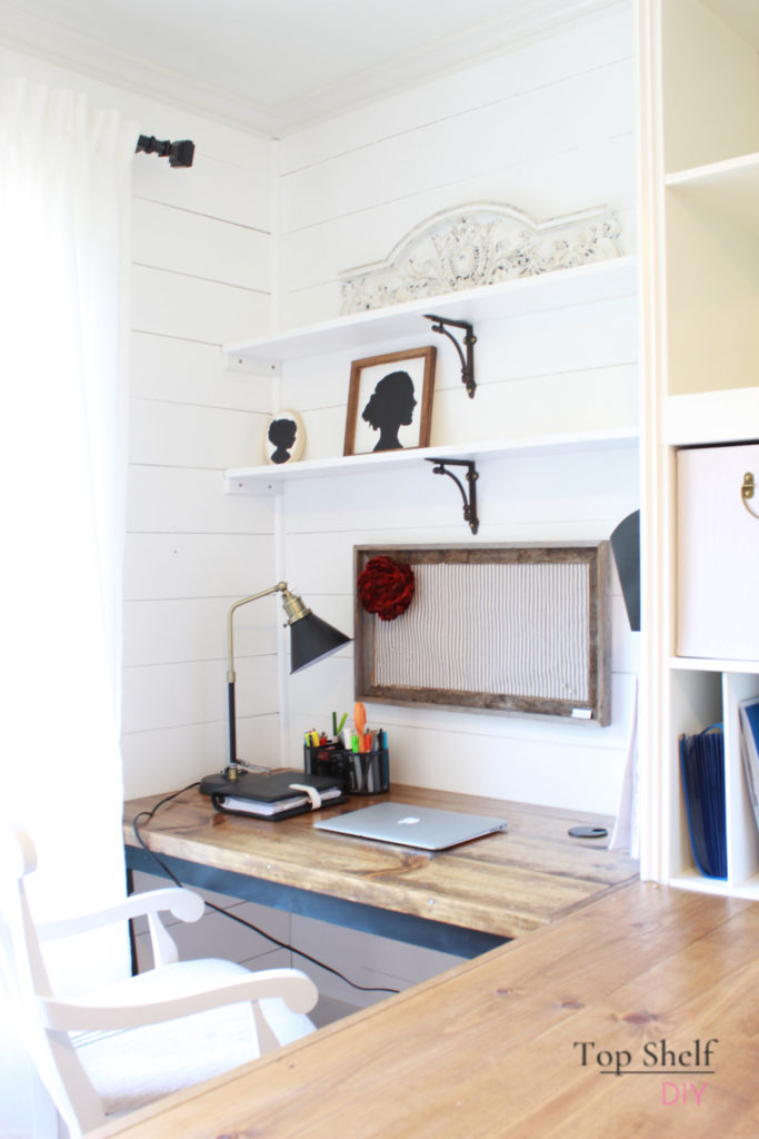 His and Hers Farmhouse Office: Start with a plan and general style. Learn as you go and don't be afraid to make mistakes! #officereno #officeshelving #officeorganization #organization