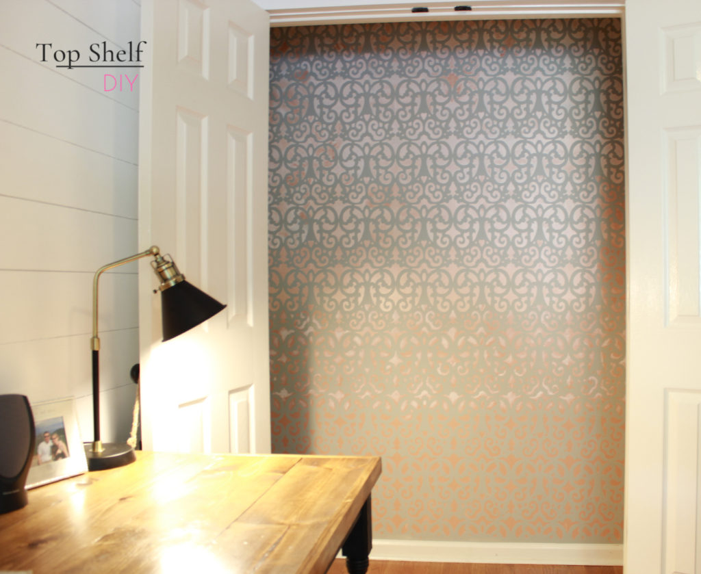 Wallpaper closet in our His and Hers Farmhouse Office
