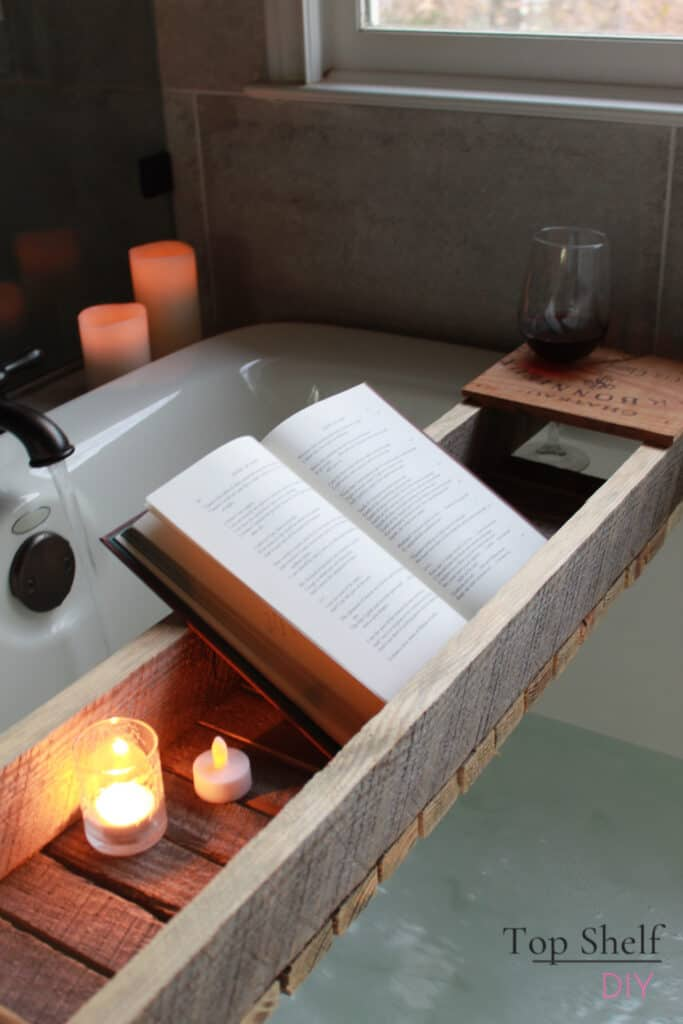 Take your nighttime relaxation up a notch with this DIY bathtub shelf