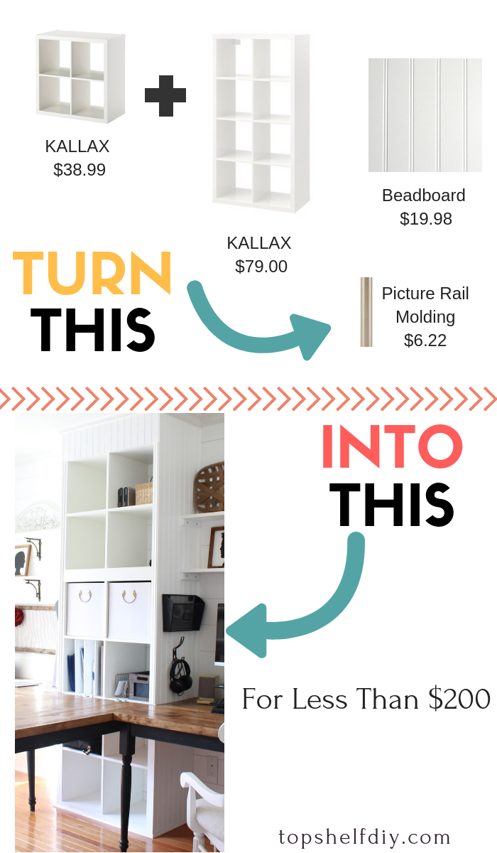 Kallax The Great: 8 Feet of Built-In Floor-to-Ceiling Storage for Less Than $200. Follow these steps for a beautiful built-in. #ikeahack #kallaxhack