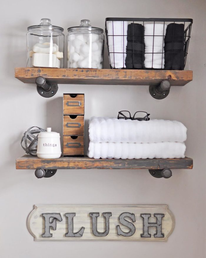 learn how to make this industrial shelf by hopping over to Cherishedbliss.com for the full tutorial.  Get the skinny on four different ways to design shelving in your home, from free standing to built-in and everything in between. #closet #closetorganization #organization
