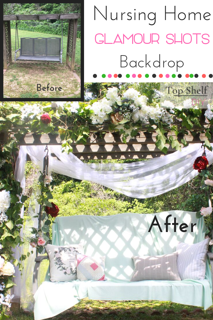 Nursing home backdrop for glamour shots. Wrap existing structure in chicken wire, secure with zip ties, and then tuck as much fake/real foliage in the holes as you can find!