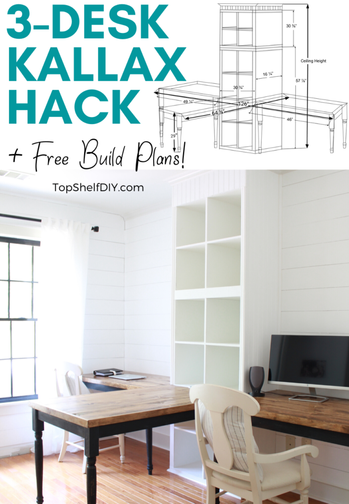 Build your own 3-part desk system utilizing two built-in Ikea Kallax units. FREE build plans included!