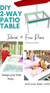 Get the plans for this patio table build, which works great for sand/water sensory play as well as keeping party beverages cold! #sensorybins #sandwatertable #quarantinehacks
