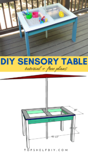 Convertible patio table doubles as babysitter and bartender on hot summer days. Get the free plans here! #sensorybins #busytoddler #toddleractivities #sandwatertable #quarantinehacks