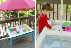 Keep your kids busy this summer with this convertible water and sand table! Great for sensory bins. Get your free plans here! #sensorybins #quarantinehacks #waterandsandtable #projectmaniamommies