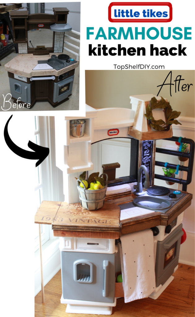 Revamp your child's builder grade kitchen following this handy tutorial! #cubbyhack #farmhousedecor #farmhousekids