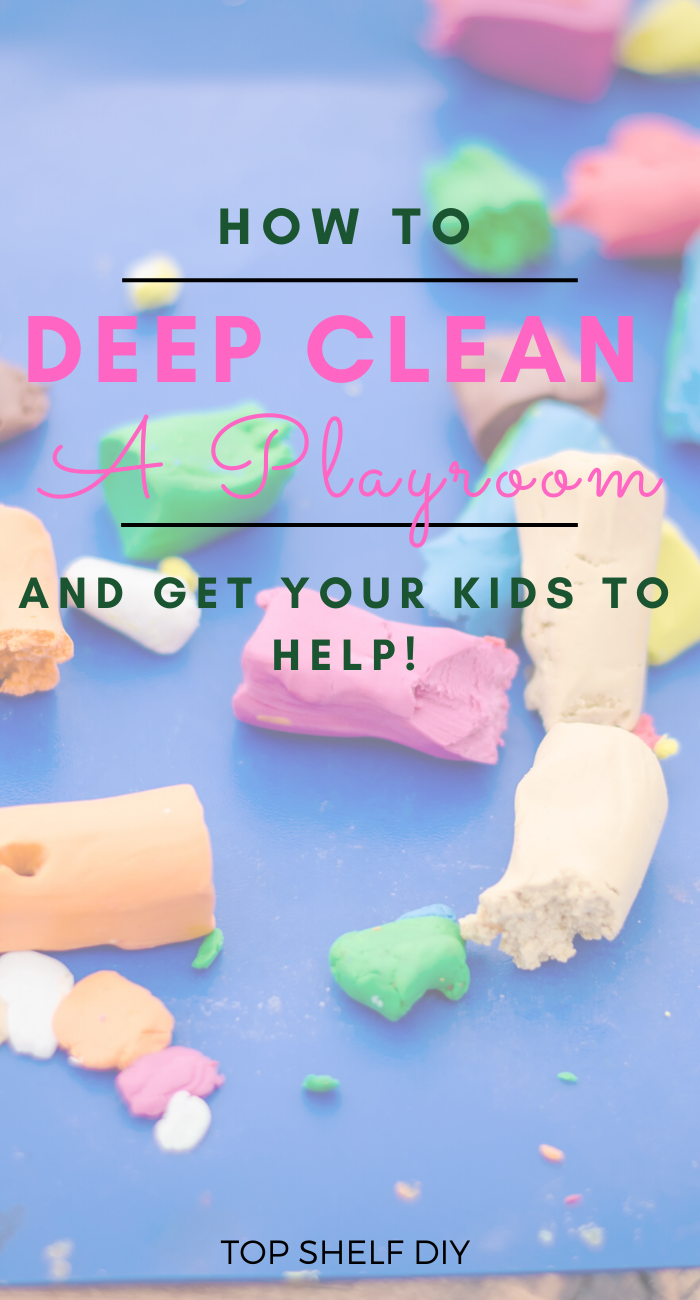 Part 1 of My Playroom Makeover Bonanza. How we deep cleaned the kids' playroom -- with the help of my 3-year-old no less.