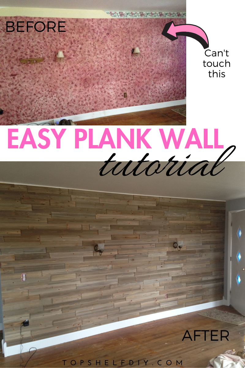 Here's what it looks like when the Pink Panther throws up chunks of Pepto Bismol. How we fixed the problem without even messing with the ugly wallpaper. #easyplankwall #plankwall #diyplankwall