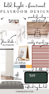 Design board for a clean, functional playroom that will transition with your kids as they get older.