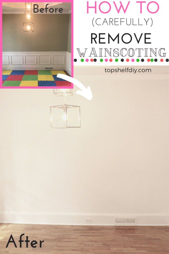 How to remove pre-existing wainscoting without destroying your drywall! #wainscoting #diywainscoting #wainscotingremoval