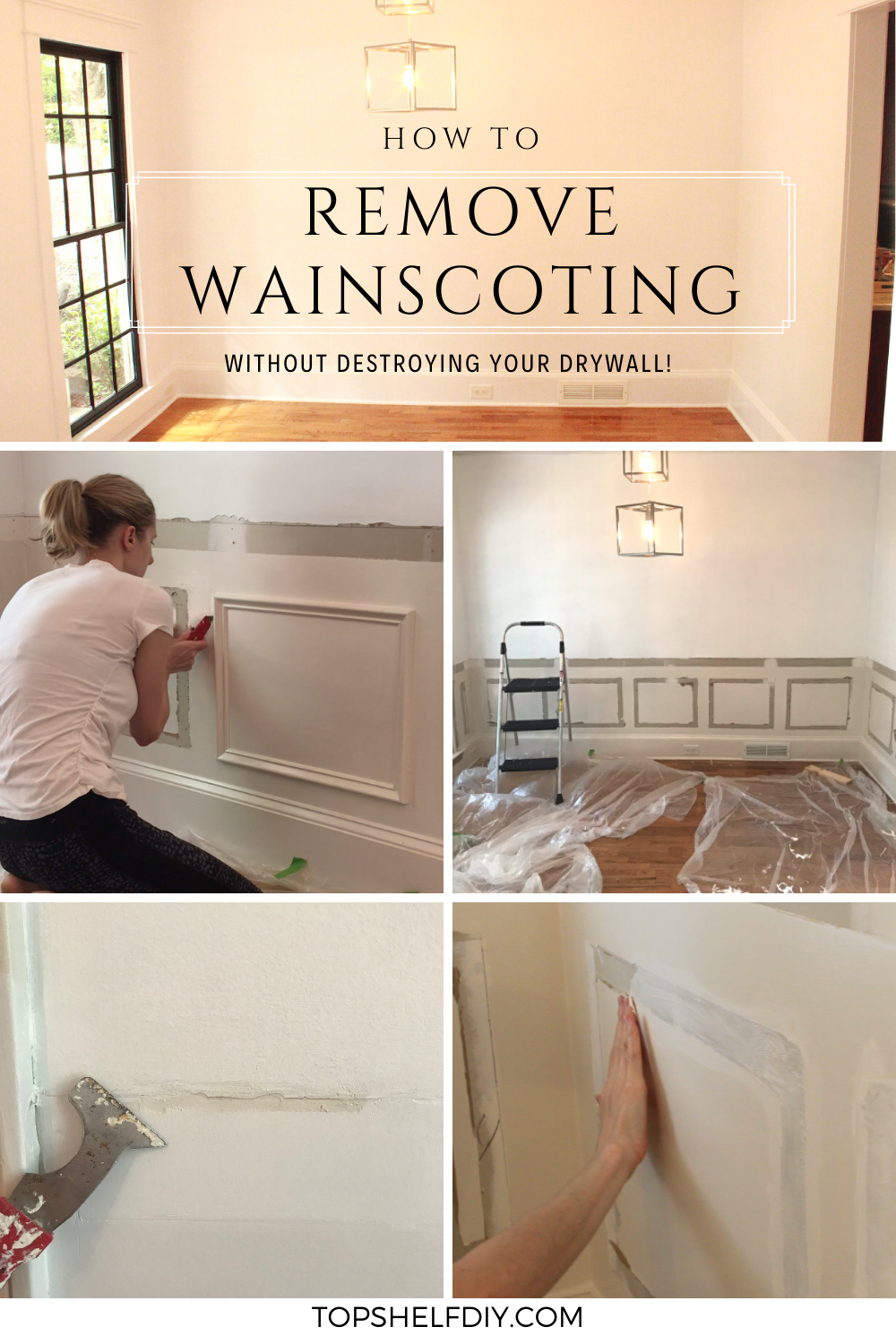Not all wainscoting is created equal. If you're ready to ditch the paneled look, don't let the fear of damaging your walls hold you back! #wainscoting #wainscotingremoval #diywainscoting