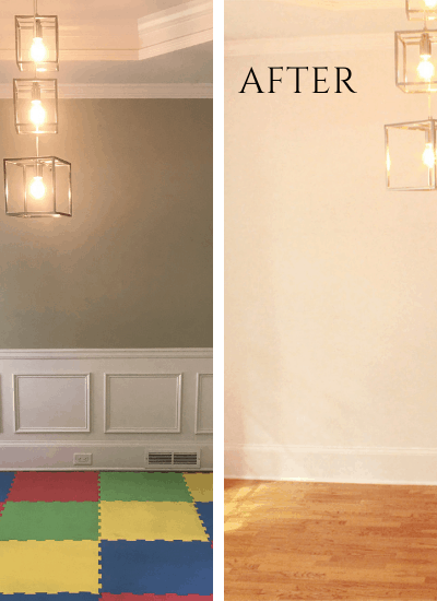 How I gave our dining room a fresh look with lighter paint and the removal of 90s wainscoting.