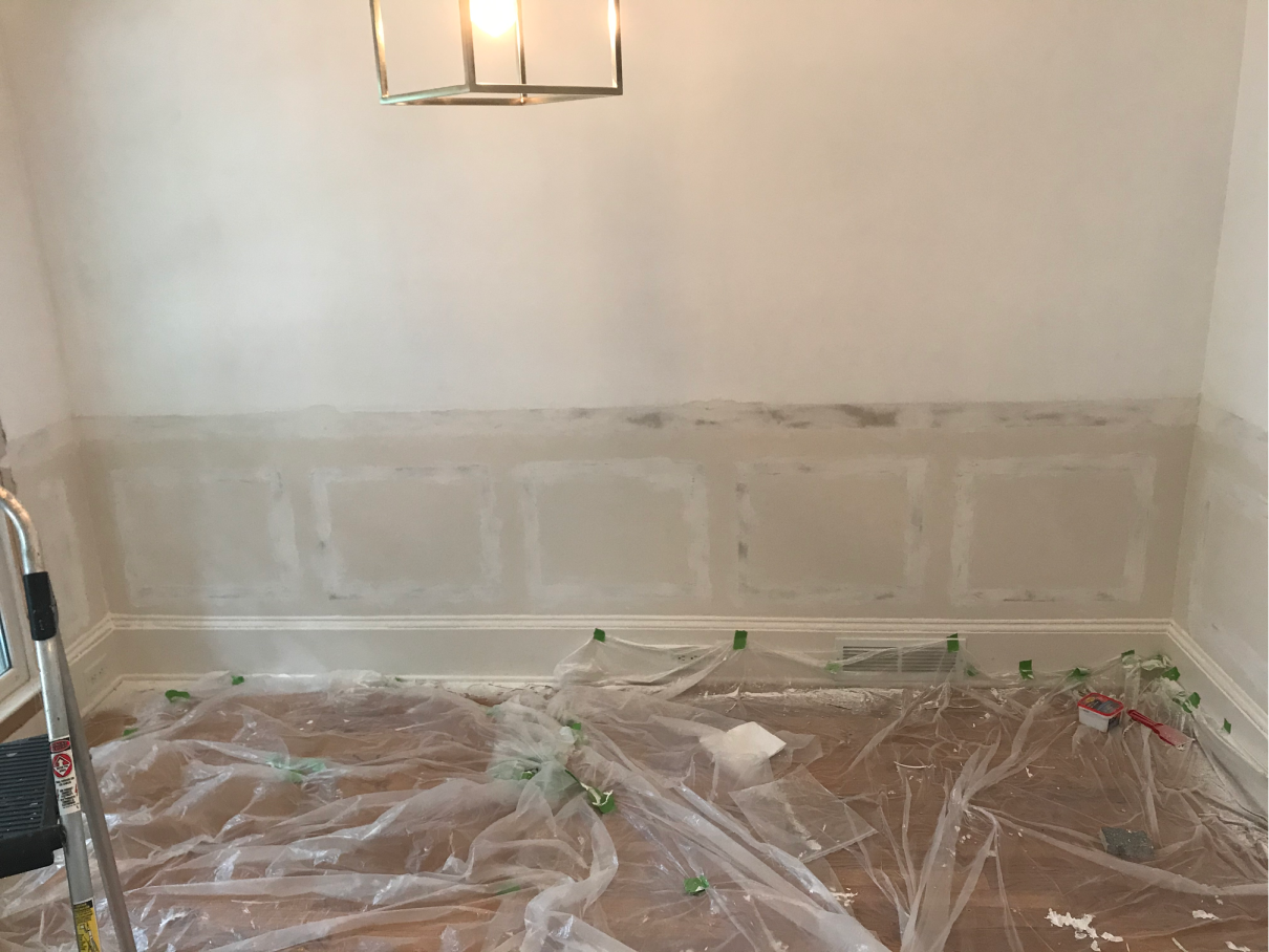 How to patch your drywall after removing wainscoting!