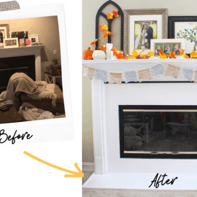 DIY Marble Fireplace and Mantel Makeover