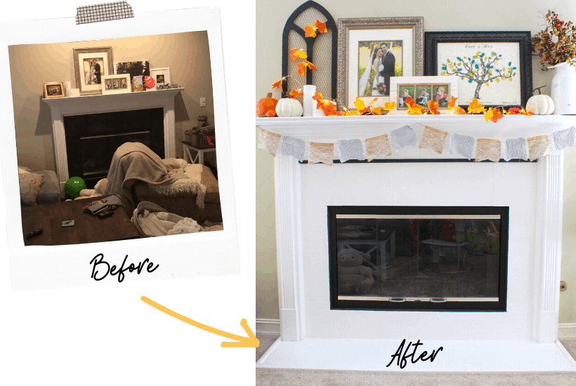 How I updated our fireplace with simple paint and trim! Get your mantel holiday-ready following this simple decorating tutorial.  #Marblefireplace #Fireplace makeover #Fireplace design #Modern fireplace #Seasonalmanteldécor