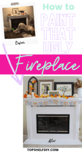 Low budget, big impact. Upgrade your 90s marble fireplace with a little paint to get the most bang for your buck! Get your mantel holiday-ready following this simple decorating tutorial. #Marblefireplace #Fireplace makeover #Fireplace design #Modern fireplace #Seasonalmanteldécor