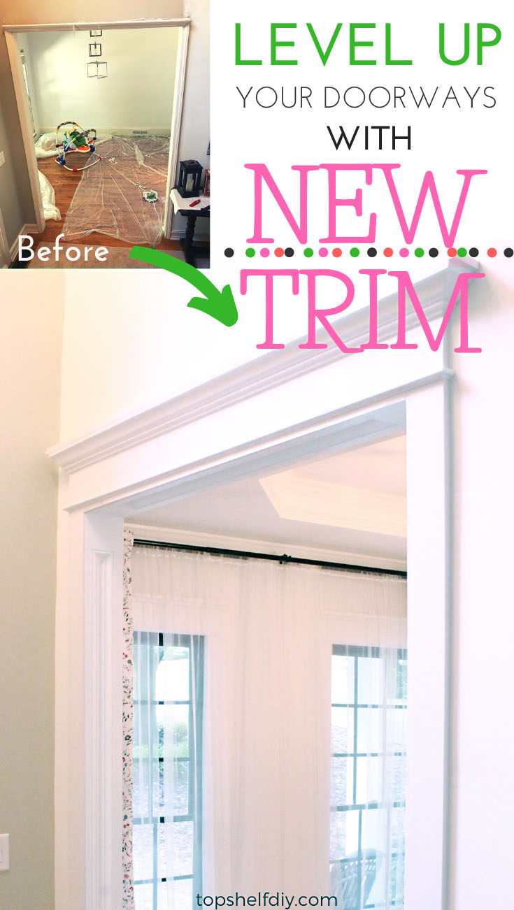 Find out how to beef up your existing doorway trim to create the illusion of wider doorway casing. Follow the step-by-step process here! #doorwaytrimdiy #Doorwaytrimideas #Doorwaytrimdoorcasing #Doorwaytrimdiy #Doorwaytrimfarmhouse #craftsmantrim