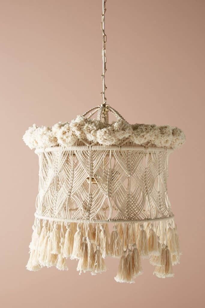 Macrame chandelier inspiration: Anthropologie light fixture. Get the details on how to make your own macrame chandelier!