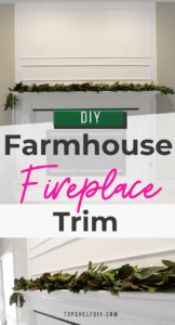 Gorgeous fireplace with DIY magnolia garland. Here's how to update the space above the mantel with trim and white paint. #fireplacedecor #manteldecor #Marblefireplace #Fireplacemakeover #Fireplacedesign #Modernfireplace #Seasonalmanteldécor