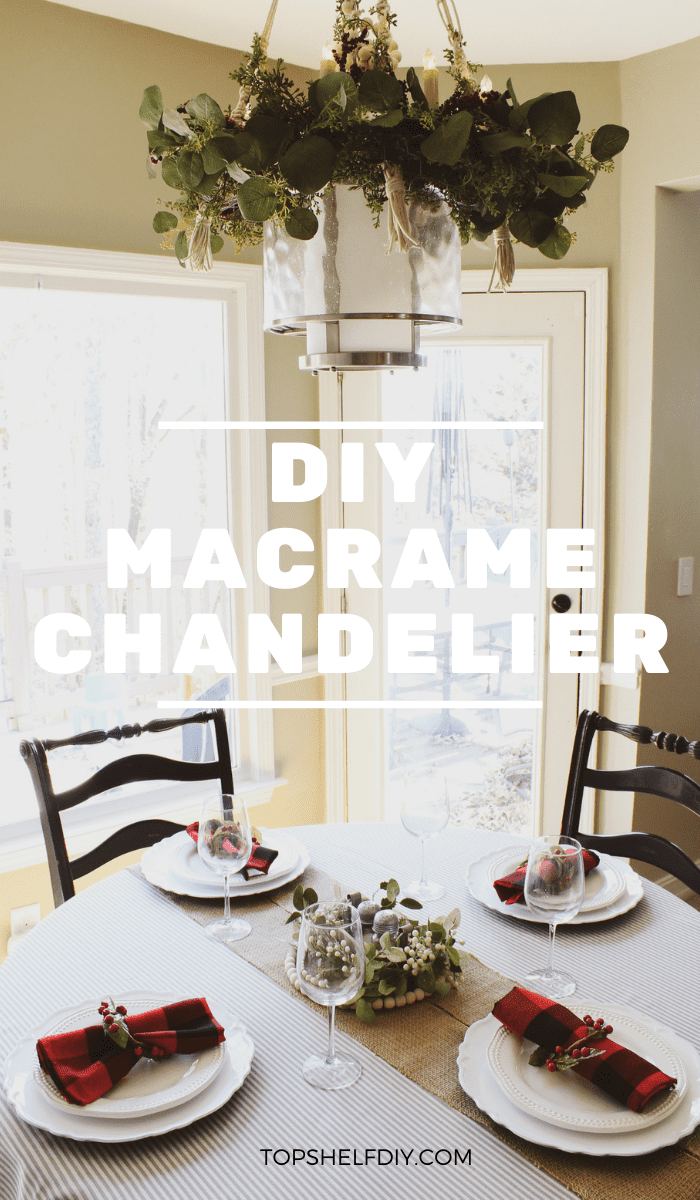 Set the scene at your Thanksgiving table this year with a lovely, bohemian chandelier made with macrame cords, wood beads, and tassels. What's not to love? Get the full tutorial here! #diymacrame #macramechandelier