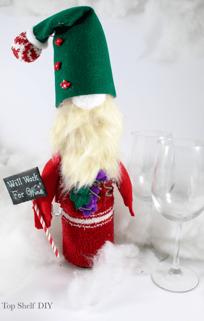 2020 is The Year of the Gnome. Learn how to make these adorable wine topper gnomes and bring the Swiss Alps right to your kitchen! #diygnomes #winegnomes